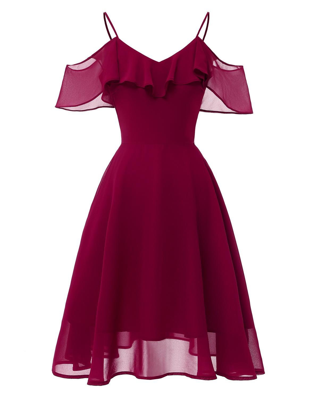 Sexy Off-shoulder Cocktail Dresses Chiffon Spaghetti straps Burgundy Navy Pink Robe party 2019 Short Vestidos Homecoming Dress