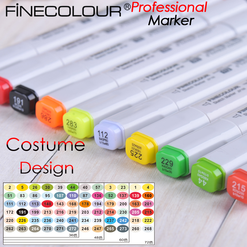 Finecolour-One Costume Design maker Dual Tips Soft tip Ink Designer Comic Art Marker Drawing touchnew 60 colors artist dual head sketch markers for manga marker school drawing marker pen design supplies 5type