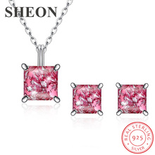 SHEON Popular Elegant 925 Sterling Silver Pink Opals Jewelry Set Pendant Necklace & Earrings Sets More