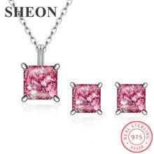 SHEON Popular Elegant 925 Sterling Silver Pink Opals Jewelry Set Pendant Necklace & Earrings Sterling Silver Sets & More elegant decoration acylic rhinestone earrings pendant set pink golden