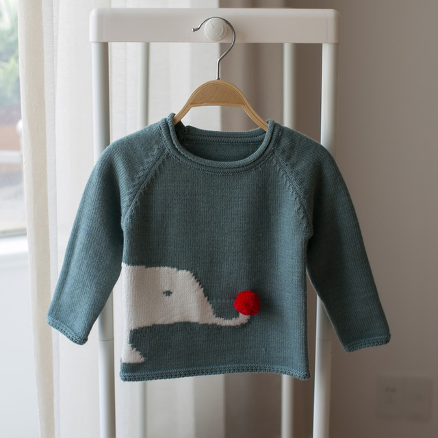 2017 spring and autumn new children's cartoon elephant sweater baby boys and girls cartoon children sweater knitted sweater