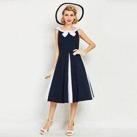 1950s 60s Vintage Dresses Summer Women Dark Blue Patchwork Dress 2017 Peter Pan Collar Mid Calf