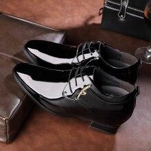2016 Британский Стиль Моды для Мужчин Оксфорд Свадебная Обувь Мужской Острым Носом Офис Лакированные Туфли Черный Высота Increase10cm