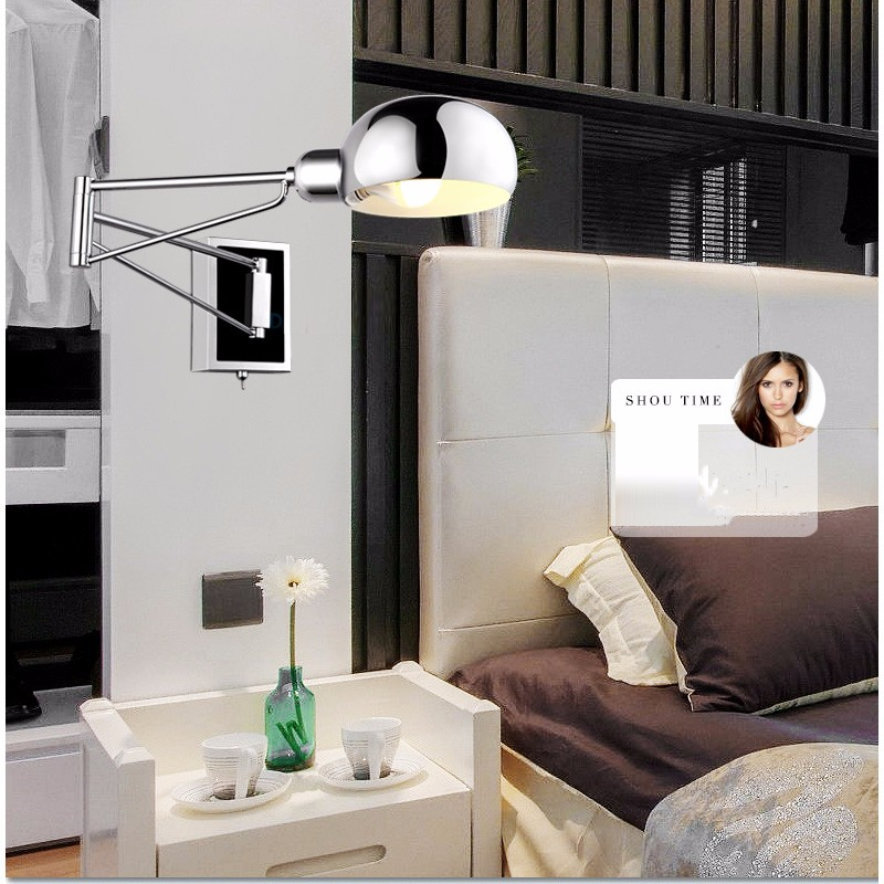 Chrome Wall Sconce Bedside wall fixtures Lighting for bedroom modern ...