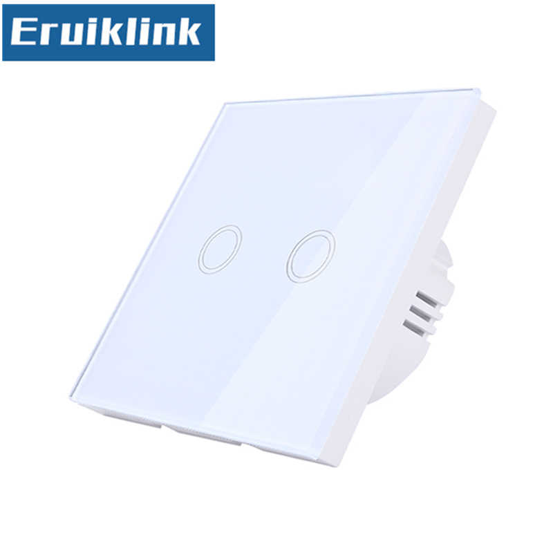 EU/UK Standard Wall Switch,1/2/3 Gang 1 Way Crystal Glass Panel Touch Light Switch Can't be remote controlled