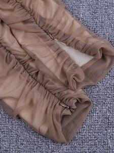 Image 5 - Deer Dame Sommer Party Kleid Frauen 2019 Sexy Mesh Bodycon Kleid Langarm Off Schulter Sheer Rüschen Celebrity Club Kleid