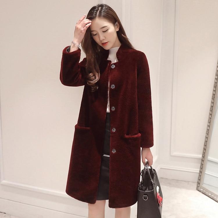 เสื้อแจ็คเก็ตสตรีฤดูหนาว 2019 หญิง Sheepskin ขนสัตว์แจ็คเก็ตฤดูใบไม้ร่วงเสื้อผ้า Oversize Outwear ขนสัตว์ Lady Elegant เกาหลีแกะขนสัตว์-ใน ขนสัตว์จริง จาก เสื้อผ้าสตรี บน   3