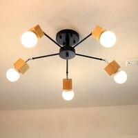 Lustres de madeira Ferro Pendurado Iluminação para Sala de estar Moderna Iluminação Lustre Lustres Pendientes fornecedores