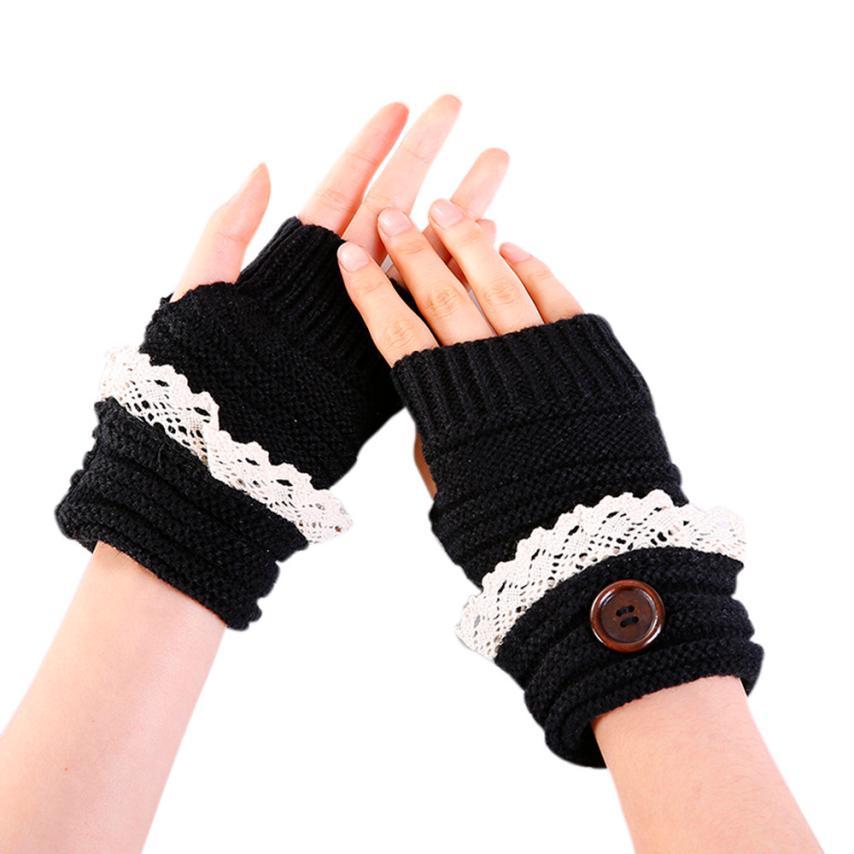 Begeistert Snowshine Yli Mode Frauen Winter Kurze Spitze Taste Warmer Strickhandschuhe Handschuh Zu Verkaufen
