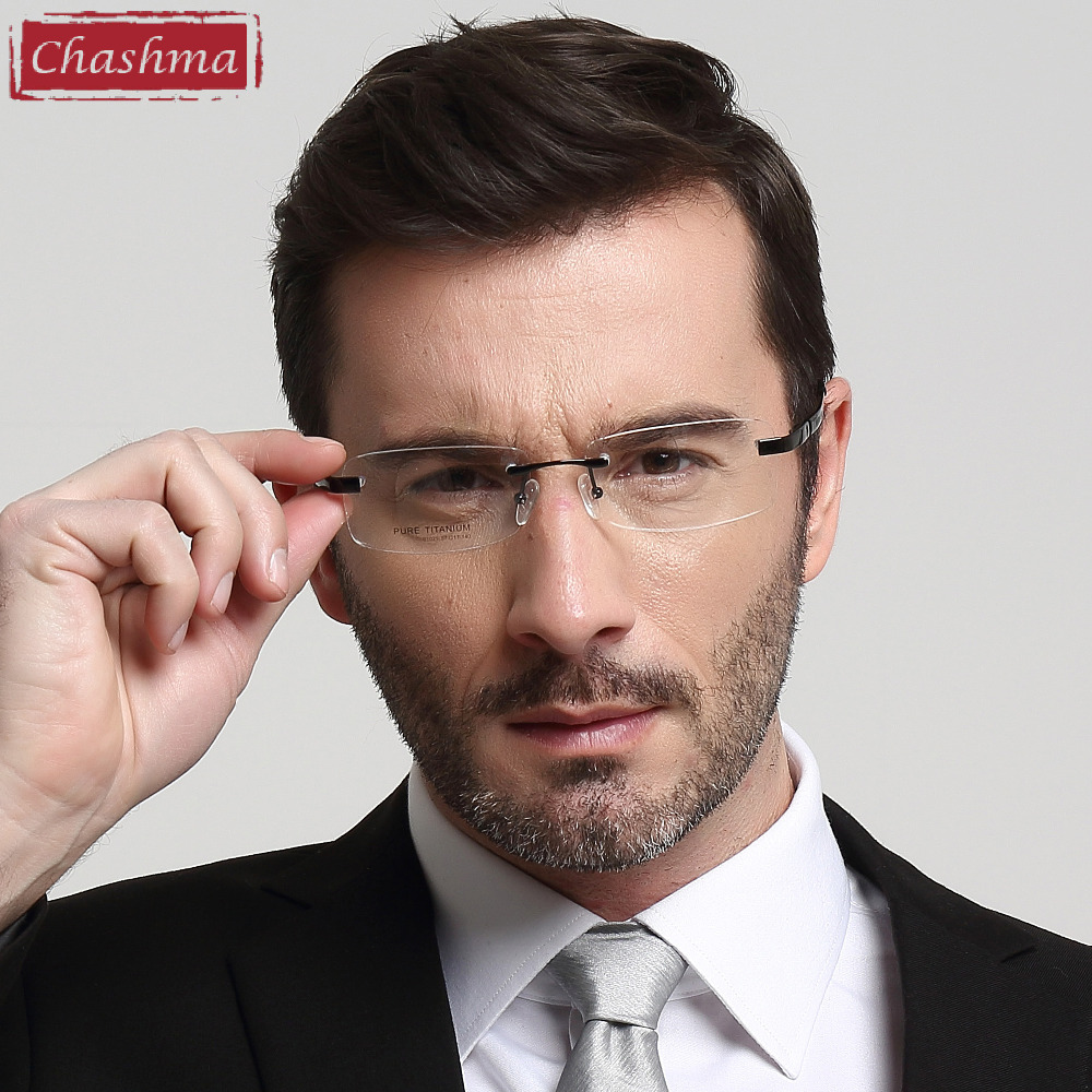 Chashma reseptbelagte toppkvalitets briller for menn Oversize Rimless - Klær tilbehør