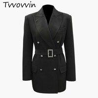TVVOVVIN Women Blazer Diamond Button Womens Blazers Long Sleeve Women Jaket Belt Slim Thin Suit Coat All Match Woman Tops V952