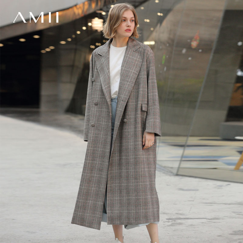 Amii Women Minimalist 2019 Autumn   Trench   Coat Office Lady Oversized Double-breasted Loose Long Sleeve Female   Trench   Coats