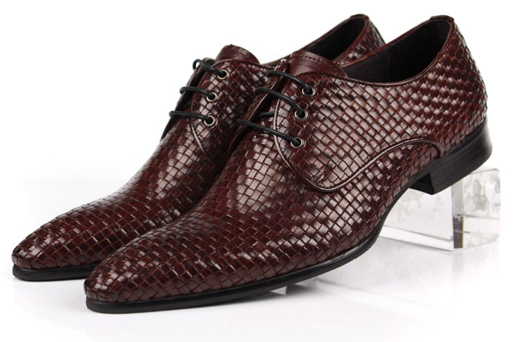 High quality woven design pointed toe mens business shoes genuine leather dress shoes mens formal wedding shoes