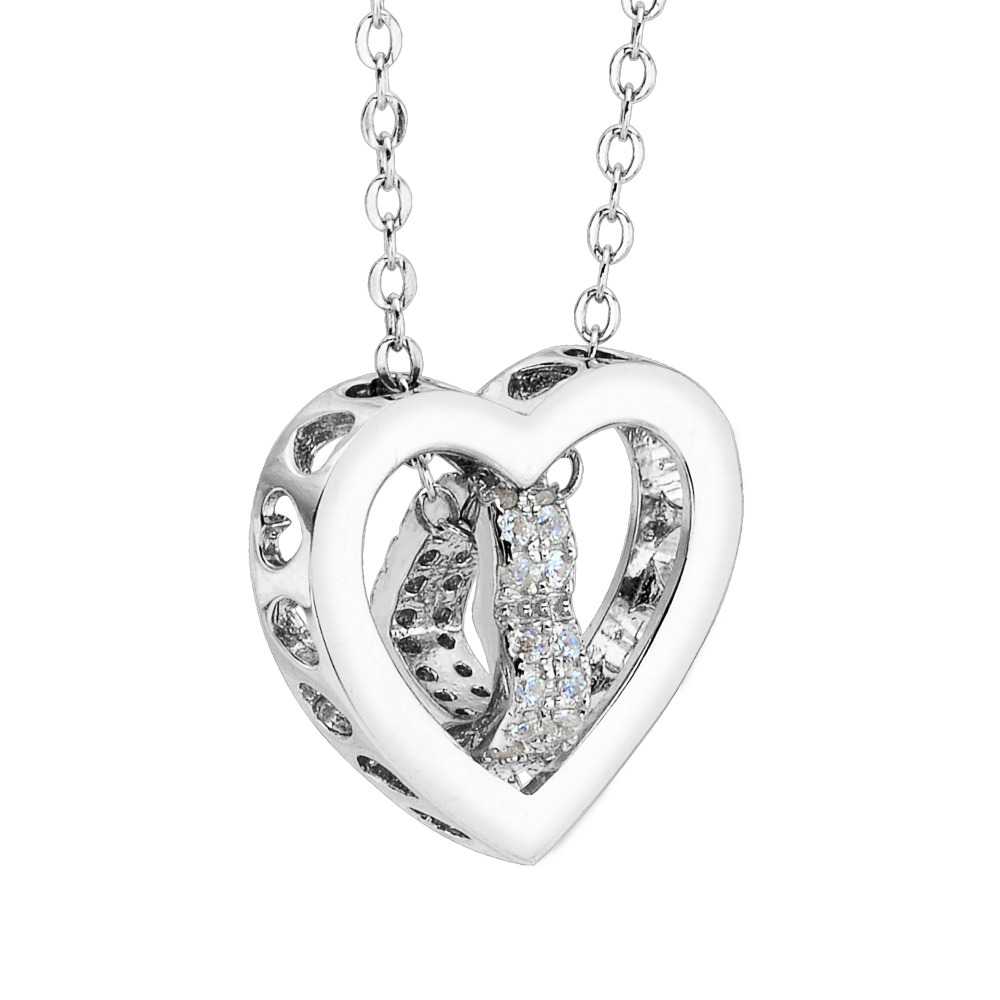 Bella Fashion 925 Sterling Silver Hollow Heart Bridal Necklace Cubic Zircon Necklace For Wedding Party Jewelry Valentine's Gift bella fashion 925 sterling silver lucky horseshoe bridal necklace cubic zircon pendant chain necklace for wedding party jewelry