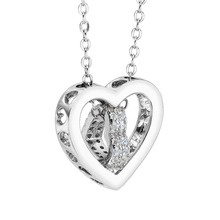 Bella Fashion 925 Sterling Silver Hollow Heart Bridal Necklace Cubic Zircon Necklace For Wedding Party Jewelry Valentine's Gift