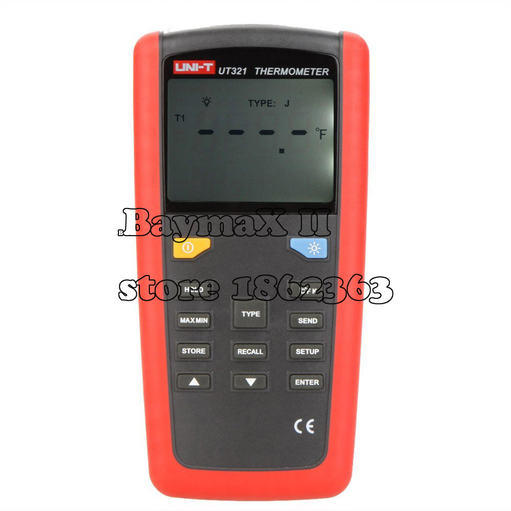 UNI-T UT321 Digital Single Input Thermometer K/J/T/E Type Temperature Tester Sensor w/LCD Backlighgt & USB Interface Termometro