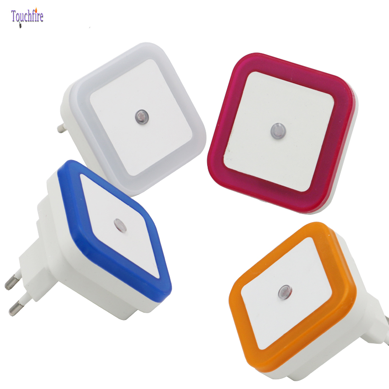 LED Colorful Plastic Night Lights Sensor Control EU US Plug Novelty Square Bedroom Romantic lamp For Baby infant Gift Study