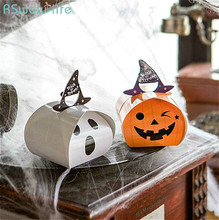 10pcs Halloween White Ghost Pumpkin Candy Packaging Gift Box Portable Mini Paper Bag Festival Party Supplies