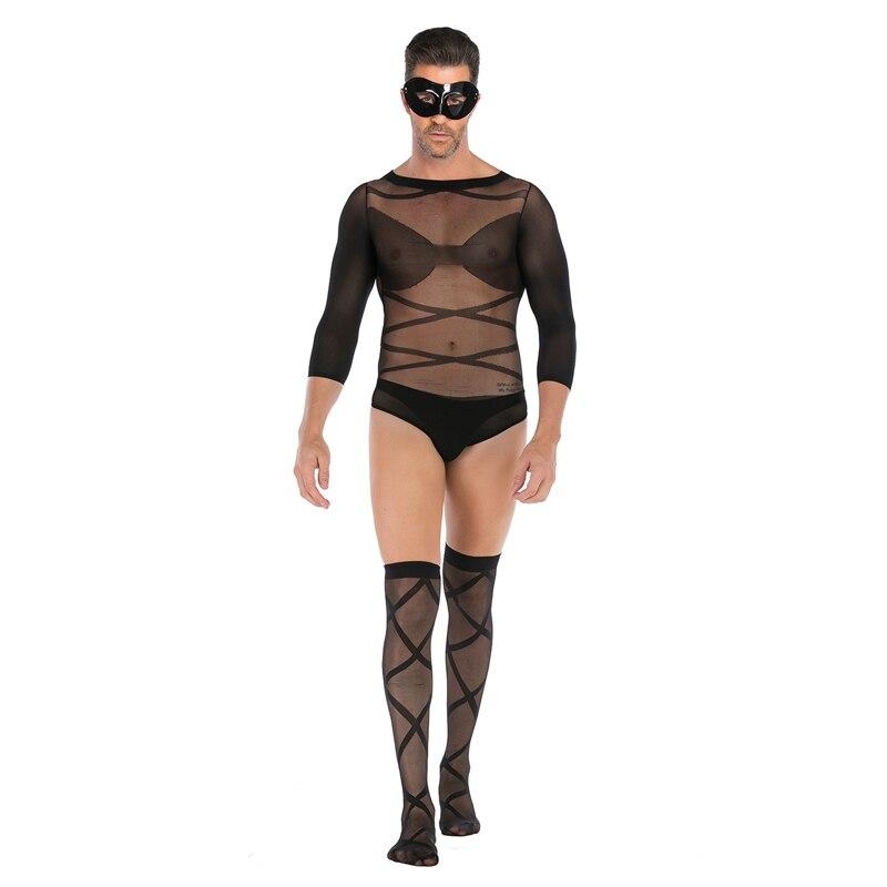 Bodystocking Men Mens Siamese Stockings Mens Transparent Thin High Elastic Socks Mens Tops Stockings Long Sleeve Body Stockings