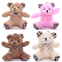 10cm Mini Teddy Bear 10pcs/Lot Brown/White Bear Small Pendant Plush Toy Wedding Gift Advertising Gifts Key Chain
