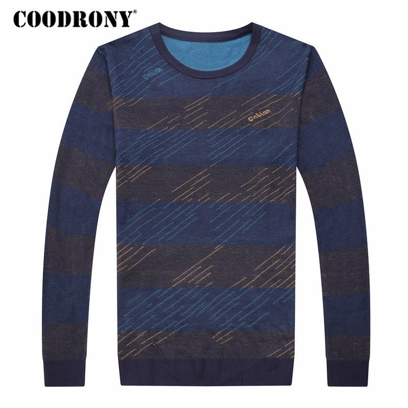 COODRONY Sweater Men Shirt Pull O-Neck Homme Autumn Striped Casual Plus-Size 8147 New-Arrival