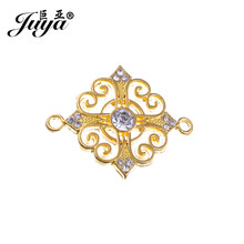 JUYA 5pcs 34x27.5mm Hlollow Flower Rhinestone Cross Charms Pendants for Jewelry Making Silver Filigree Connrctor Crafts CR0022(China)