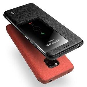 Image 4 - QIALINO דק אמיתי עור Flip Case עבור Huawei Mate 20 פרו יוקרה טלפון כיסוי עם תצוגה חכמה עבור huawei Mate 20 X