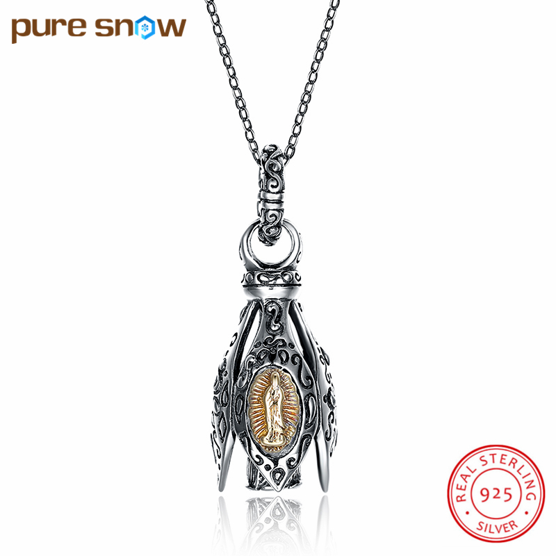 Pure Snow Hot Sale Luxury 925 Sterling Silver Fashion Earring Shape Pendant Necklaces For Girl Women Jewelry Gift SVN217