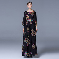 Vintage Dress 2018 Spring Autumn Casual New New European Style Flare Sleeve Retro Wheel Print Slim Black Maxi Swing Dress