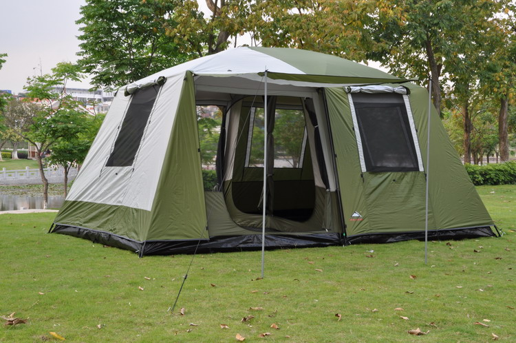 Two bedroom 6 12 person double layer super strong waterproof windproof camping family party tent