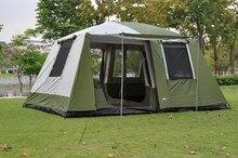 UlralargeTwo שינה 6 12 אדם שכבה כפולה סופר חזק עמיד למים Windproof משפחה מסיבת קמפינג אוהל ביתן גדול