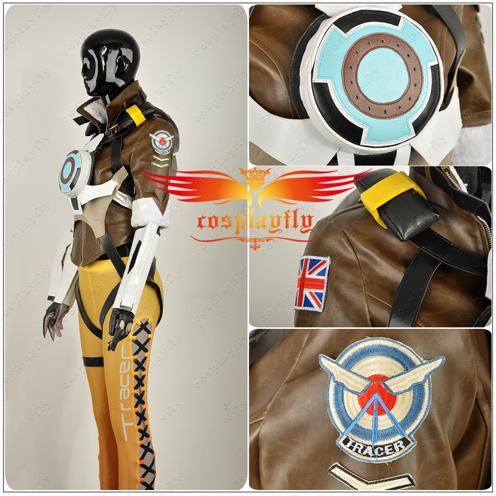 OW Tracer Lena Oxton Nanosuit Girl PU Cosplay Costume Shoes Wig Custom Full Set