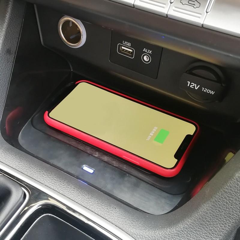 Auto QI caricatore del telefono senza fili di ricarica supporto del telefono cassa center console piastra di ricarica accessori per Hyundai Sonata 9 2018