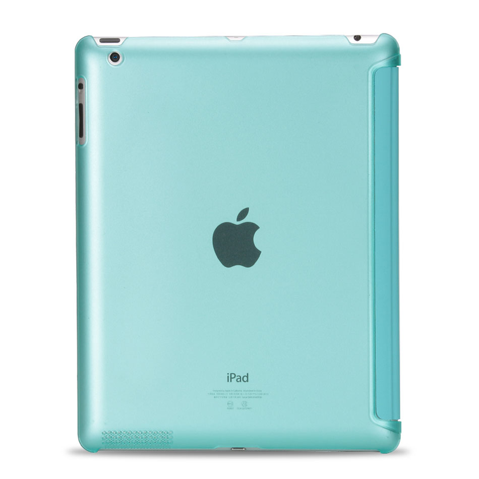 Multi-folded Tablets Case For iPad 234 Smart Protective Cover PU+PC Connection Translucent PC Hard Tablet Case For iPad 4 Case-4