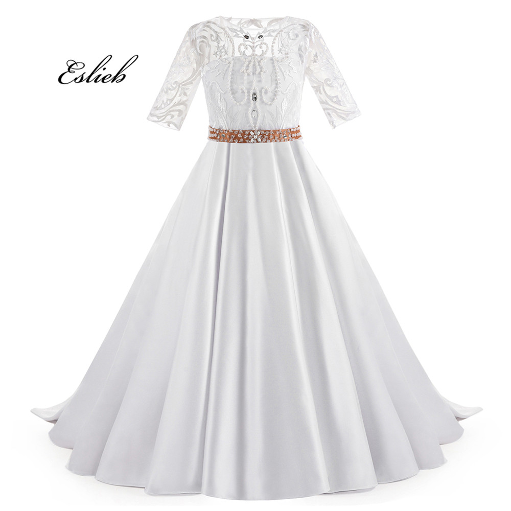Eslieb 2018 Flower Dresses First Communion For S Puffy Ball Gown Half Sleeve Pageant