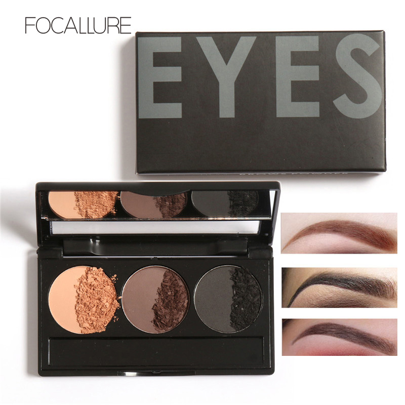 Focallure Brand Makeup 3 Color Eye Brow Cosmetics Pigment Brown Coffee Black Mineral Powder Eyebrow Tattoo Makeup Palette