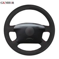 DIY Black Suede Leather Car Steering Wheel Cover for Volkswagen VW Passat B5 1996 2005 Golf 4 1998 2004 Seat Alhambra