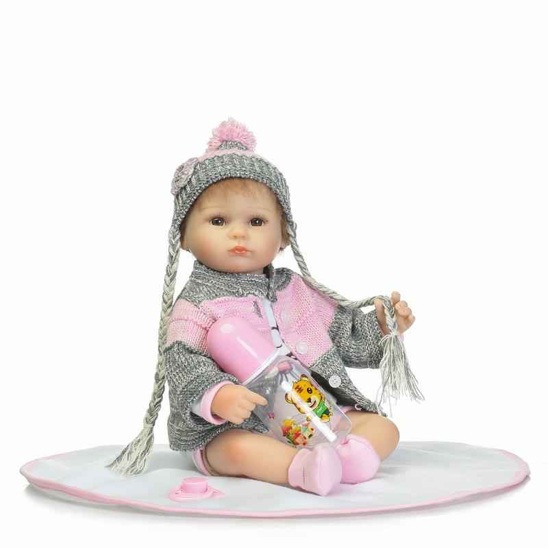 Nicery 16-18inch 40-45cm Bebe Doll Reborn Soft Silicone Boy Girl Toy Reborn Baby Doll Gift for Children Gay Pink Sweater nicery 18inch 45cm reborn baby doll magnetic mouth soft silicone lifelike girl toy gift for children christmas pink hat close
