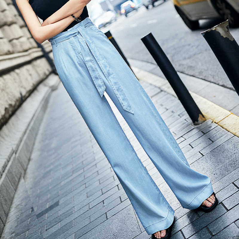 Blue Tencel Jeans Women Summer High Waist Casual Pants Sashes Button Zipper Fly Loose Denim Full Length OL Jeans for Ladies