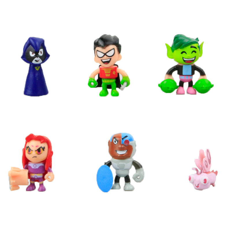 6pcs/lot Teen Titans Go Action Figures Toy with Weapon Props Robin Beast Boy Raven Cyborg Titans Figure Toys for Children Gift ...