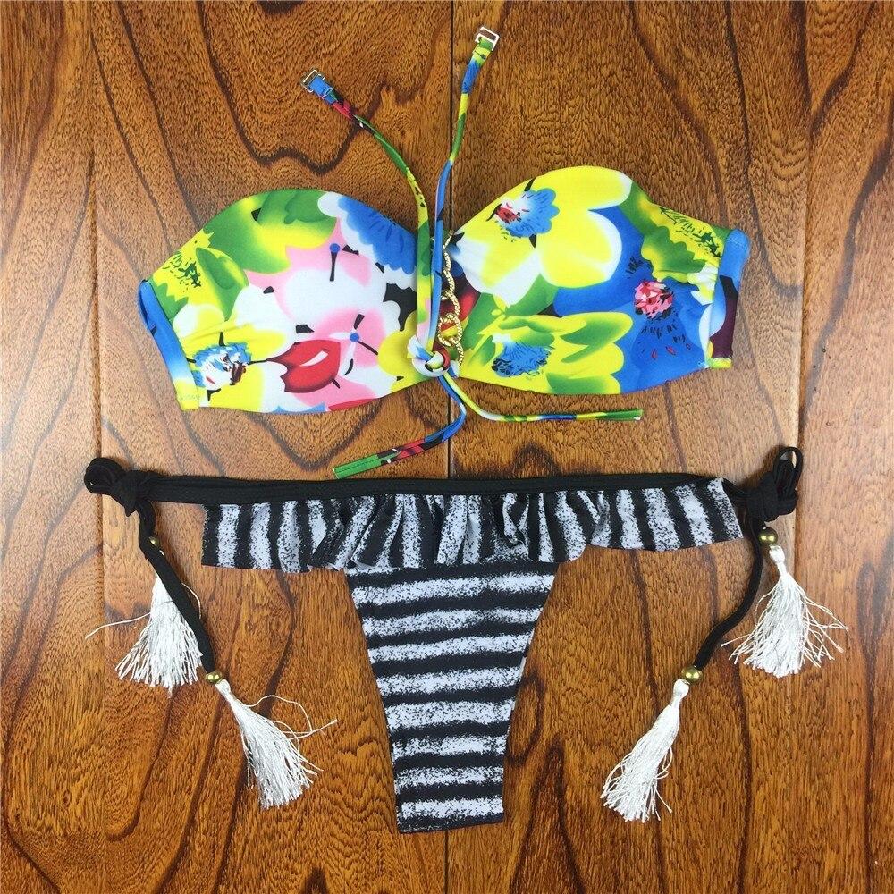 18 Summer Style Floral Print Women Bikinis Set Crochet Lace Swimsuit Strapless Push Up Bandeau Biquinis Beachwear Bathing Suit 29