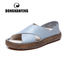 DONGNANFENG Women Mother Ladies Female Shoes Sandals Flats Cow Genuine Leather Pigskin Summer Cool Beach Size 35-40 ANS-1805