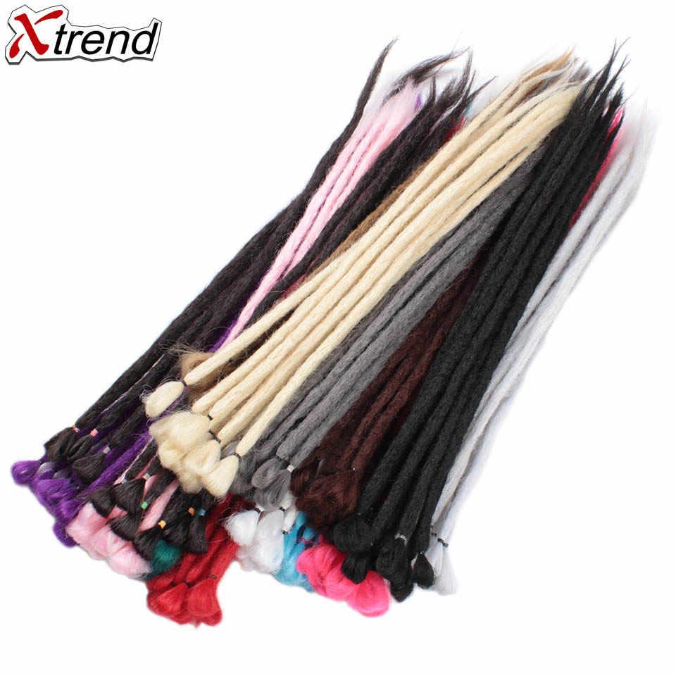 Xtrend ручной работы дреды синтетические волосы для наращивания крючком коса 1 прядь дредлок для женщин и мужчин 20 дюймов