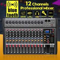 LEORY 12 Channel bluetooth Digital Microphone Sound Mixer Console Professional Karaoke Audio Mixer Amplifier With USB