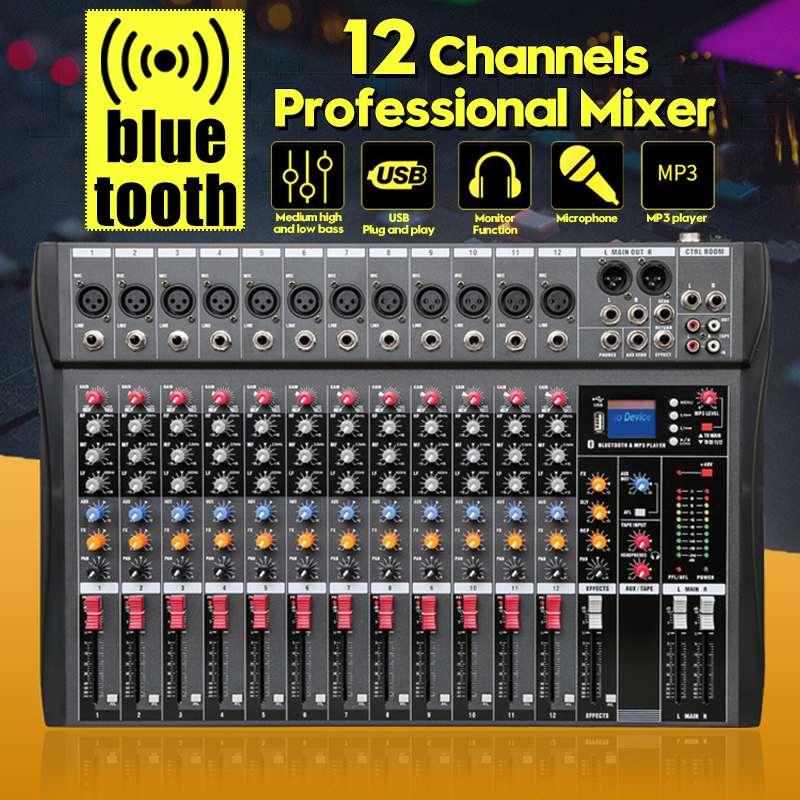 LEORY 12 canales bluetooth Digital micrófono mezclador de sonido consola profesional Karaoke Audio mezclador amplificador con USB
