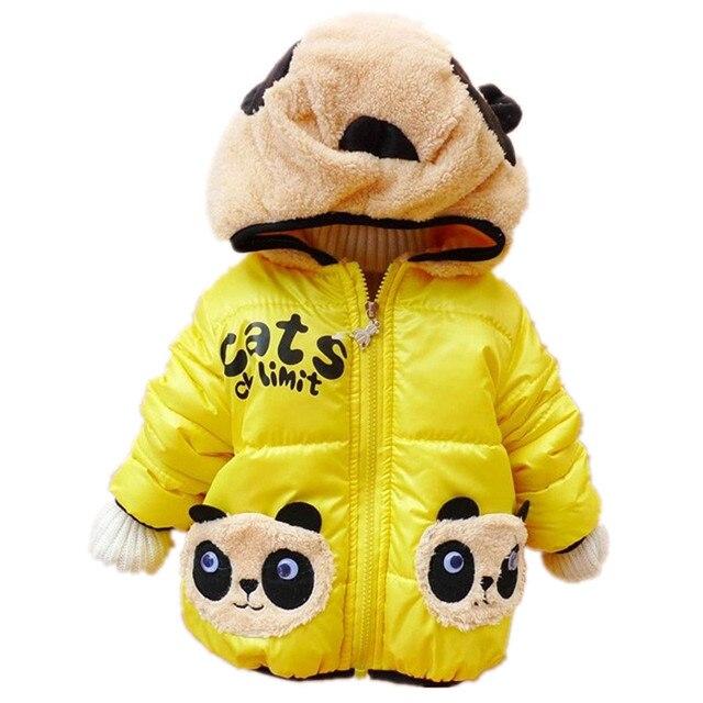 2016 Новый Мальчик Пальто для Зима Panda Теплый Мальчик Куртки Хлопка Проложенный Дети Верхняя Одежда Детская Одежда