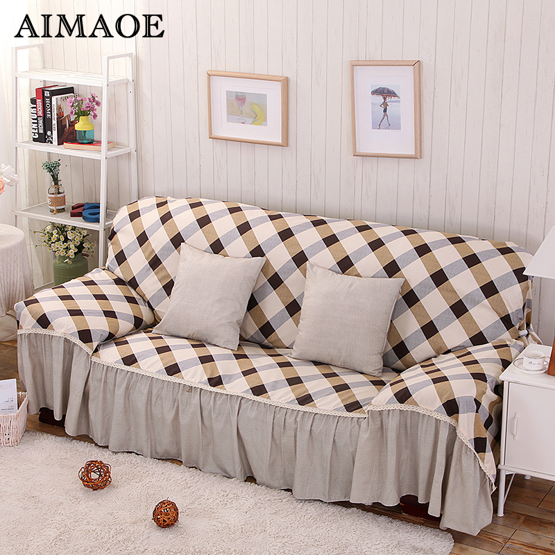 Cotton Polyester Modern Plaid Lace L Shaped Sofa Cover Corner Slipcover Stretch Towel Elastic