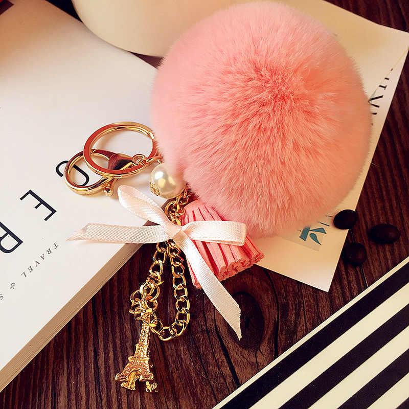 Chave Da Cadeia de moda de Pele De Coelho verdadeiro mulheres Bowknot torre Pendente pele Pom Pom bola Saco Charme Acessórios Melhor Presente jóias K1618