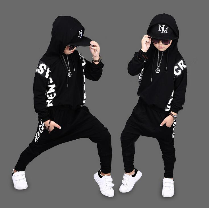 Children Autumn Spring boys hip hop suit Full sleeve Sweatshirts + Haren Pants trousers 2Pcs sets For 2 -12 Year vetement garcon