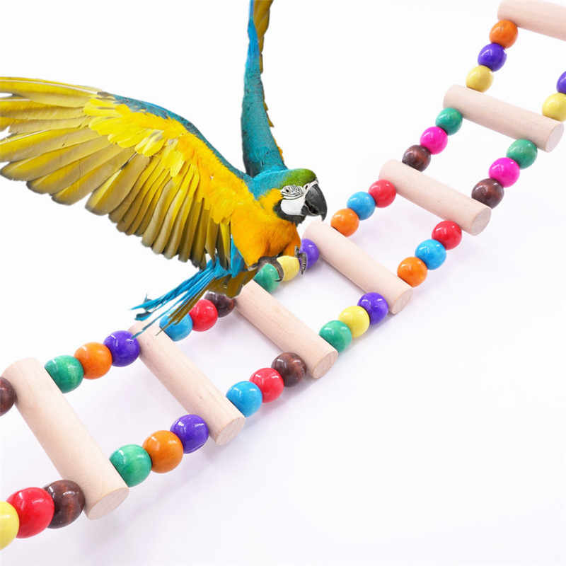 Funny Wood 3 Size Bird Toy Parrot Colorful Climbing Ladder Toy Parrot Swing Toys Parrot Supplies